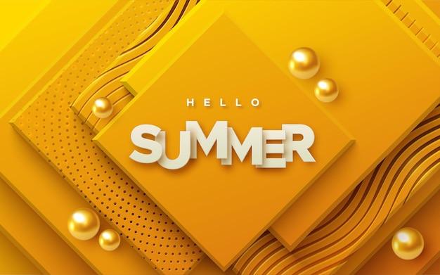 Hallo zomer papier teken op abstracte achtergrond met oranje geometrische vormen en gouden bollen