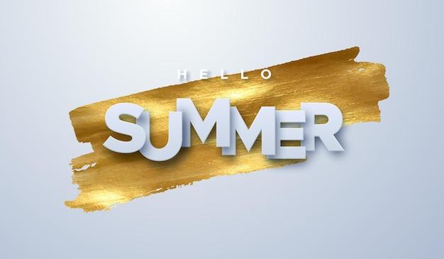 Hallo zomer papier teken op gouden verf vlek achtergrond