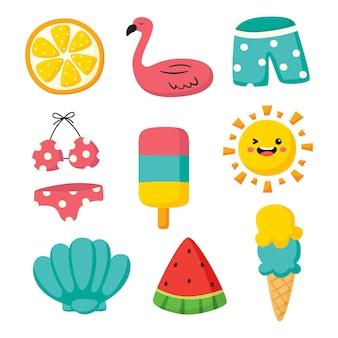 Hallo zomer pictogrammen geïsoleerd op een witte achtergrond