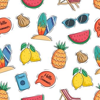 Hallo zomer pictogrammen met gekleurde doodle of met de hand getekende stijl