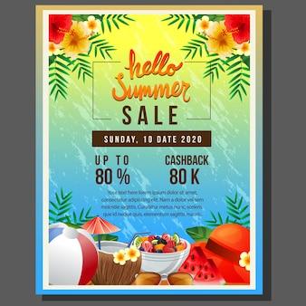 Hallo zomer poster sjabloon verkoop met zee kleurrijke zomer drankje element vectorillustratie