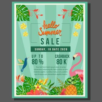 Hallo zomer posterverkoop met tropische thema vlakke stijl