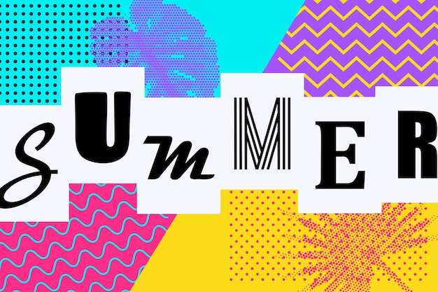 Hallo zomer retro stijl vakantie achtergrond 80s 90s popart zomer komische tekst belettering