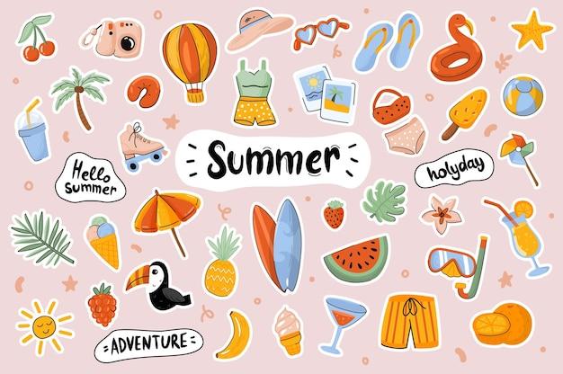 Hallo zomer schattige stickers sjabloon scrapbooking elementen instellen
