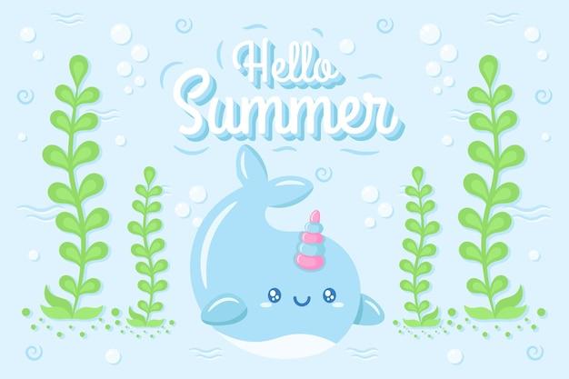 Hallo zomer schattige walvis tekening onder water