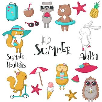 Hallo zomer set met dieren, handgeschreven tekst en zomeritems. vector hand getrokken illustratie