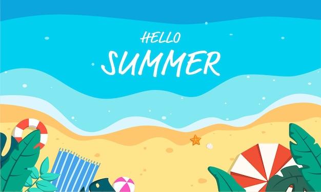 Hallo zomer strand bovenaanzicht