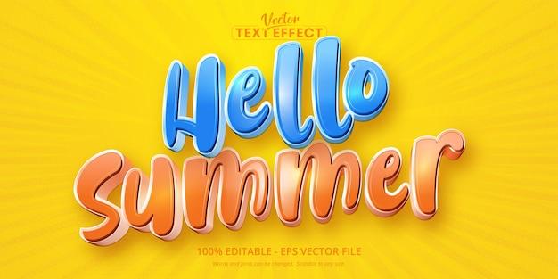 Hallo zomer tekst cartoon stijl bewerkbaar teksteffect