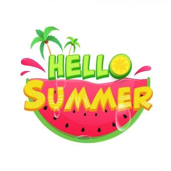 Hallo zomer tekst met citroen stuk, kokospalmen, waterdruppels en glanzende watermeloen segment op witte achtergrond.