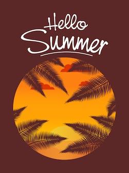 Hallo zomer tropische kaart. een zonsondergang op het zandstrand met palmbladeren.