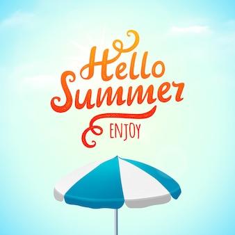 Hallo zomer typografie inscriptie met parasol. illustratie