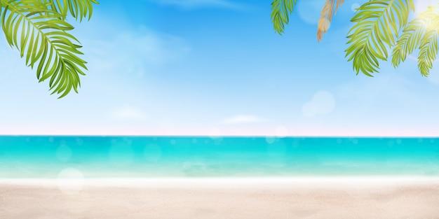 Hallo zomer vakantie ontwerpconcept. poster landschap seashore resort view met strand