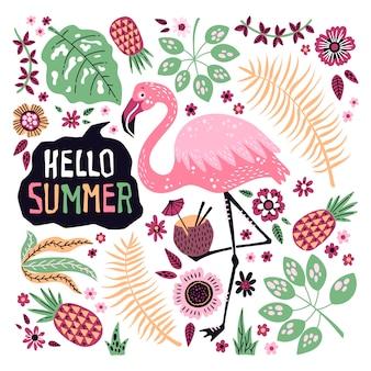 Hallo zomer. vector leuke flamingo omringd door tropische vruchten, planten en bloemen.