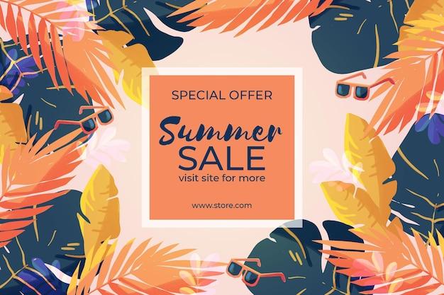 Hallo zomer verkoop aquarel ontwerp