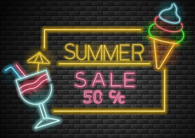 Hallo zomer, verkoop banner, zomer achtergrond, neonlicht, cocktail en ijs neon illustratie