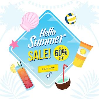 Hallo zomer verkoop concept tekening