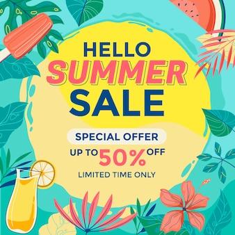 Hallo zomer verkoop illustratie