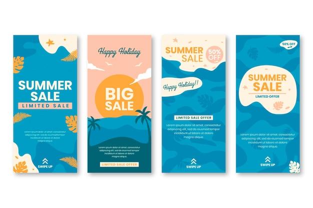 Hallo zomer verkoop instagram verhaalcollectie Gratis Vector