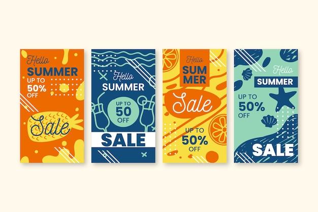 Hallo zomer verkoop instagram verhaalontwerp
