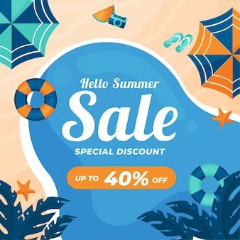 Hallo zomer verkoop vlakke stijl