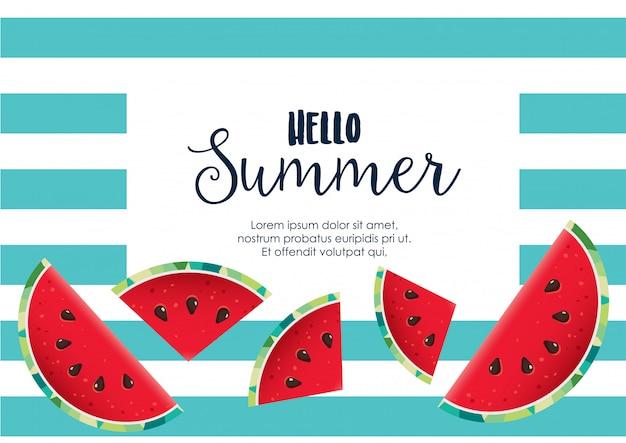 Hallo zomer watermeloen achtergrond vector