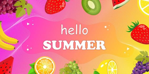 Hallo zomer webbanner bovenaanzicht op zomercompositie met realistisch tropisch fruit
