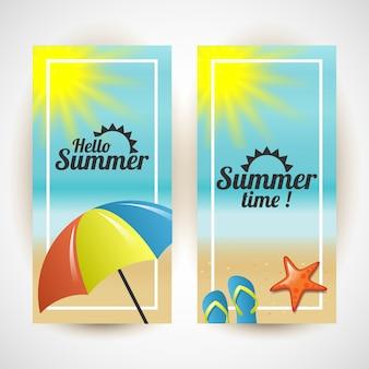 Hallo zomer. zomertijd verticale kleurrijke illustratie Premium Vector