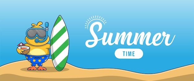 Hallo zomerbanner met het karakterontwerp van de illustratie van de vakantiekip