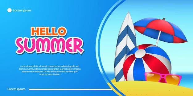 Hallo zomerbanner met zandstrand kust, surfplank, paraplu, stoel, bal en landschap