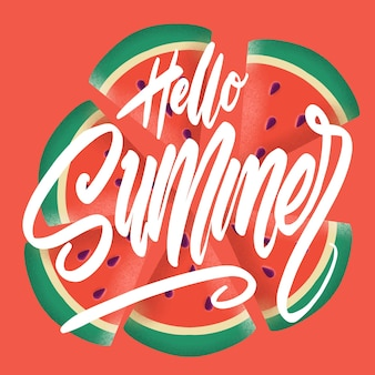 Hallo zomerbanner. trendy structuur. seizoen roeping, weekend, vakantie logo. zomertijd behang. fijne zomerdag. wereldbol ruimte vector. belettering tekst. modieuze moderne kleur styling sjabloon.