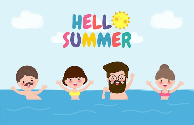 Hallo zomerbannersjabloon mensen die op de golven zwemmen groep mensen die plezier hebben op het strand