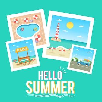 Hallo zomerbehang met plat ontwerp