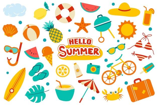 Hallo zomercollectie ingesteld op wit