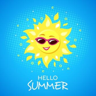 Hallo zomerconcept met funky lachend zonkarakter dat een zonnebril draagt.