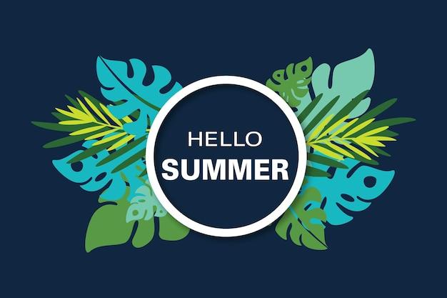 Hallo zomerframe met palmbladeren en exotische planten