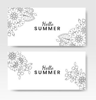 Hallo zomerkaart met mehndi-bloem