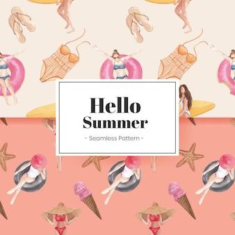 Hallo zomerpatroon naadloos met zomerse vibes
