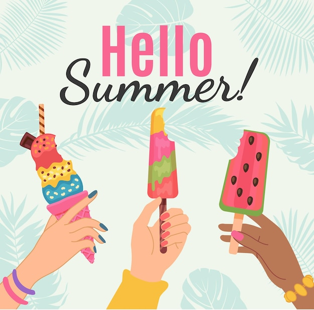 Hallo zomerposter. vrouwelijke handen met ijs en watermeloen ijslolly. kaart met tropisch feest. gelukkig zomervakantie vector concept. illustratie met watermeloencrème, vrolijke zomerposter