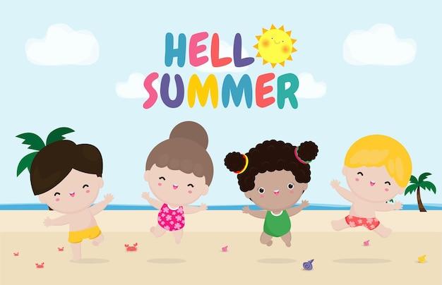 Hallo zomersjabloon groep kinderen springen op het strand zomertijd platte cartoon