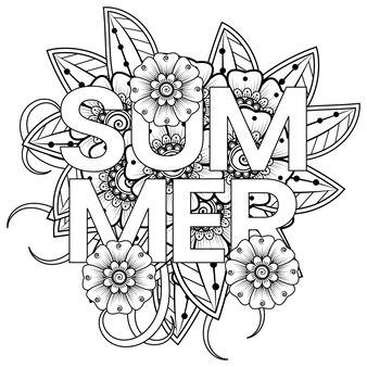 Hallo zomersjabloon met mehndi-bloem