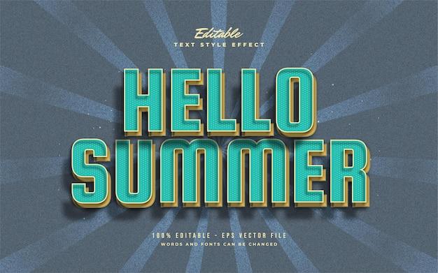 Hallo zomertekst in blauw en geel met vintage stijl