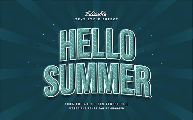 Hallo zomertekst in blauwe vintage stijl met gebogen effect. bewerkbaar tekststijleffect