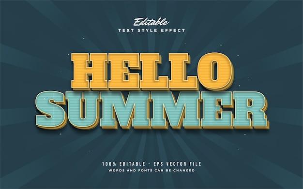 Hallo zomertekst in geel en blauw met vintage stijl. bewerkbaar teksteffect