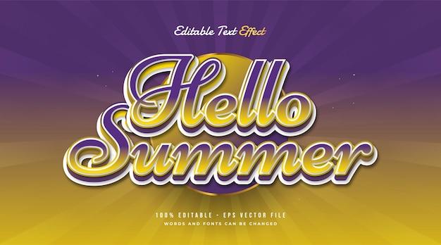 Hallo zomertekst in kleurrijk verloop met vintage stijl. bewerkbaar teksteffect