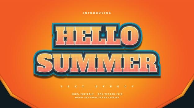 Hallo zomertekst in kleurrijke cartoonstijl. bewerkbaar tekststijleffect