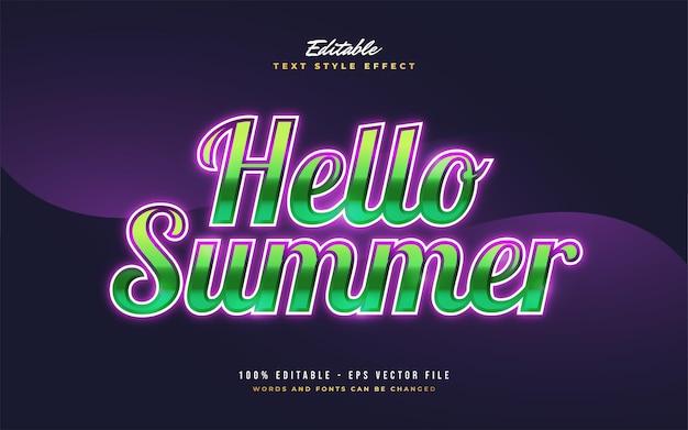 Hallo zomertekst in kleurrijke retrostijl met gloeiend effect. bewerkbaar tekststijleffect