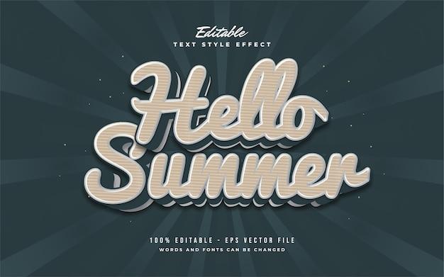 Hallo zomertekst in vintage stijl. bewerkbaar teksteffect