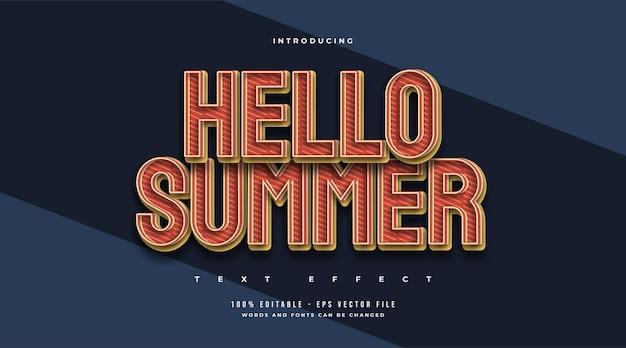 Hallo zomertekst in vintage stijl met reliëfeffect. bewerkbaar teksteffect