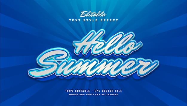 Hallo zomertekst in wit en blauw met vintage stijl