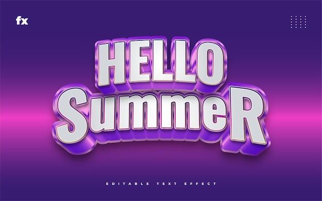 Hallo zomertekst in wit en paars met 3d-reliëfeffect. bewerkbaar tekststijleffect